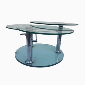 Coffee Table with 3 Removable Glass Shelves, 1980s