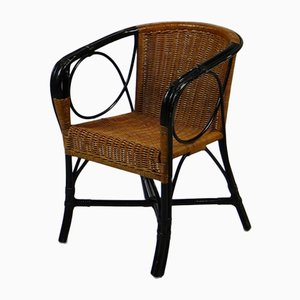 Art Deco Wicker Woven Armchairs, 1930s, Set of 3