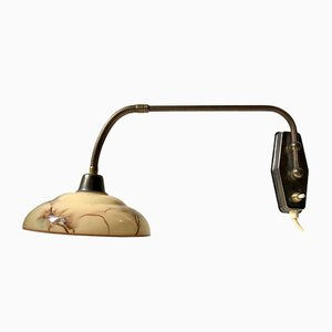 Funktionalistische dänische Wandlampe aus Messing & Marmor von Th. Valentiner, 1950er