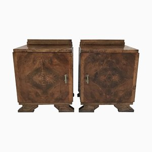 Art Deco Side Cabinets or Nightstands with Ebonized Base and Crest, 1930s, Set of 2