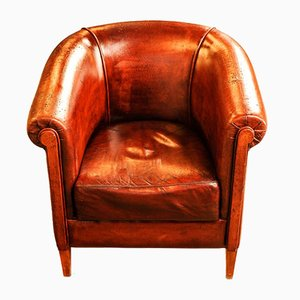 Leather Polished Armchair with Wooden Supports