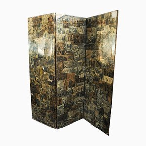Two-Sided, Three Panel Folding Boudoir Ebonised Screen