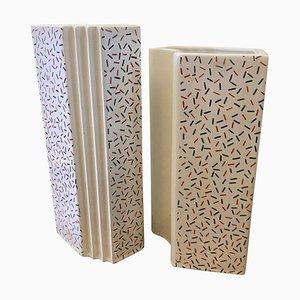 Memphis Style Italian Ceramic Vases by Massimo Materassi, 1980s, Set of 2