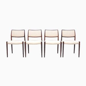 Mid-Century Model 80 Rosewood Dining Chairs by Niels Otto Møller for J.L. Møllers, Set of 4