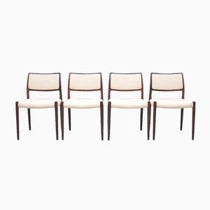 Mid-Century Modell 80 Palisander Esszimmerstühle von Niels Otto Møller für JL Møllers, 4er Set