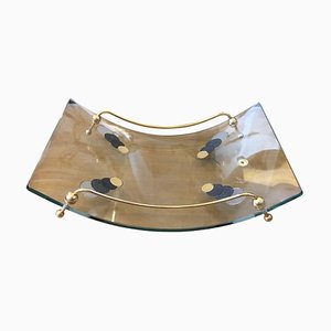 Mid-Century Italian Modern Curved Glass and Brass Magazine Rack, 1980s