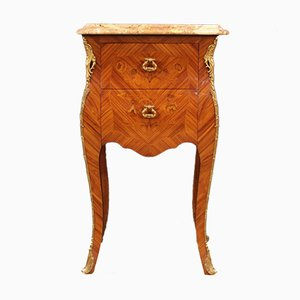 French Inlaid Rosewood Side Table with Marble Top, 1960s