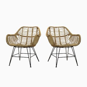 Dutch Wicker & Steel Chairs, Set of 2