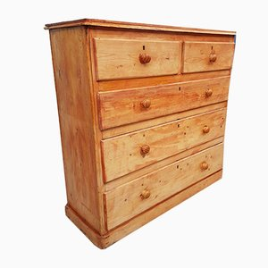 Antique Victorian Rustic Pine Farmhouse Chest of Drawers