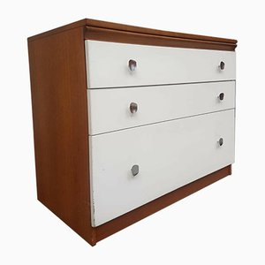 MId-Century Teak Chest of Drawers Abstract with Handles