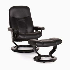 Black Leather Consul Armchair & Stool by Kein Designer for Stressless, Set of 2