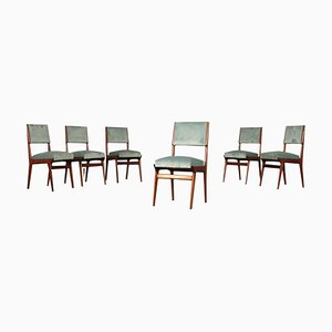 Italian Beech, Foam, Spring & Velvet Chairs, 1950s, Set of 6