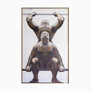 Peinture The Weightlifters par Jean Lamorlette, 1959