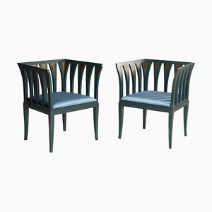 Finnish Art Deco Style Blue Chairs by Eliel Saarinen for Adelta, 1980s, Set of 2