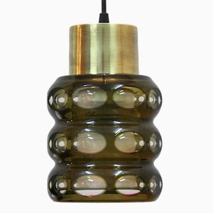 Glass & Brass Ceiling Lamp by Val Saint Lambert
