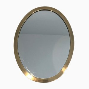 Small French Brass Oval Mirror, 1970s