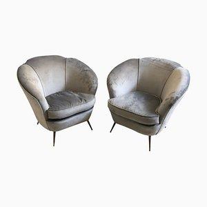 Moderne italienische Sessel aus Messing & Samt von Gio Ponti, 1950er, 2er Set