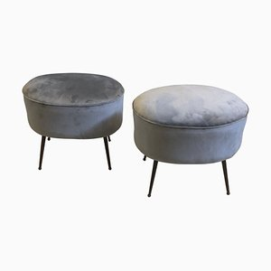 Mid-Century Modern Brass and Velvet Poufs, 1950s, Set of 2