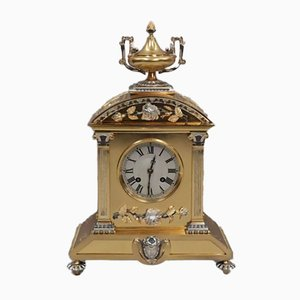 French Belle Epoque Brass and Silver Gilt Mantel Clock, 1880s
