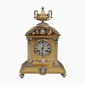 Reloj de repisa francés Belle Epoque de latón dorado y plata, década de 1880