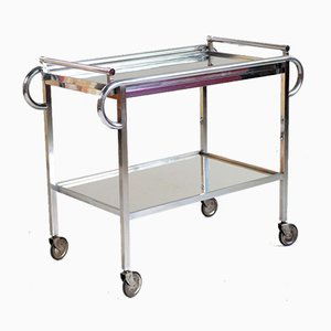 Mirrored Trolley by Jacques Adnet for Compagnie des Arts Français, 1930s