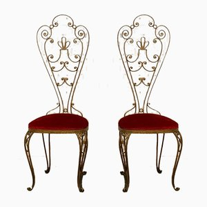 Mid-Century Wrought Iron & Gilded High Back Dining Chairs, 1950s, Set of 2