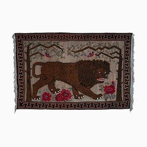 Vintage Anatolian Gabbeh Lion Kilim Rug, 1970s