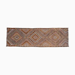 Turkish Handmade Wool Long and Narrow Staircase Kilim Runner Rug, 1970s