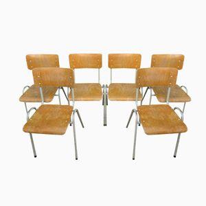 Chaises d'Ecole Vintage Industrielles, Set de 6