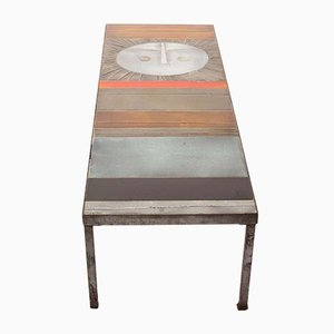 Large French Steel & Ceramic Table au Soleil Coffee Table by Roger Capron for Vallauris, 1950s