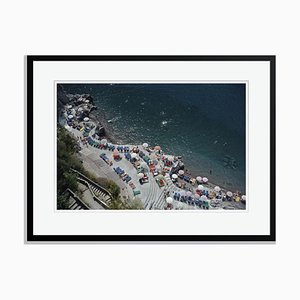 Positano Beach Oversize Archival Pigment Print Framed in Black by Slim Aarons