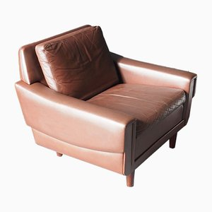 Danish Brown Leather Low Armchair, 1970s