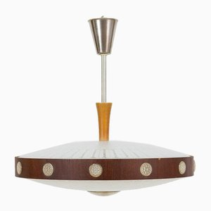 UFO Space Age Glass & Wood Ceiling Lamp