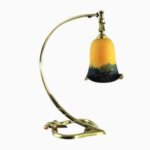 Lampada da tavolo Art Nouveau in bronzo, anni '20
