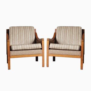 Mid-Century Danish Club Chairs with Walnut Frames, 1970s, Set of 2