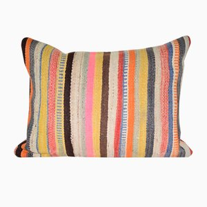 Striped Turkish Kilim Rug Cushion Cover