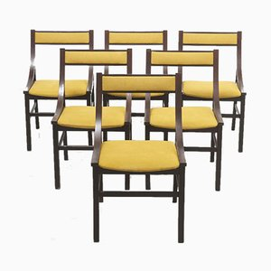 Mid-Century Italian Dining Chairs with Yellow Upholstery, Set of 6