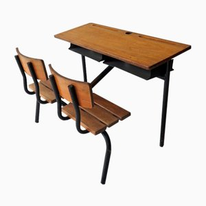 Vintage School Double Desk, 1950s