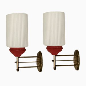 Sconces with Bronze Frames & White Opaline Glass Shades, 1940s, Set of 2