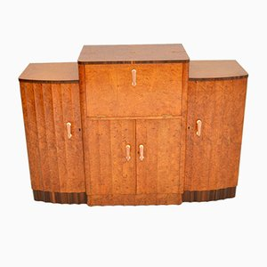 Art Deco Burr Walnut Cocktail Cabinet Sideboard by Harry and Lou Epstein, 1920s