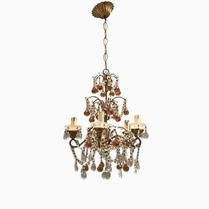 Vintage Crystal Macaroni Chandelier with Rose Caramel Murano Glass Pendants