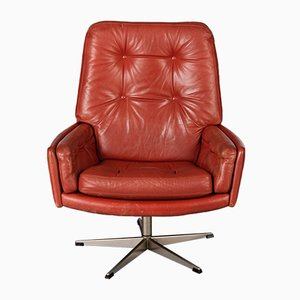 Vintage Danish Red Leather Swivel Chair, 1960s
