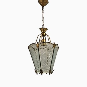 Antique Bronze Pendant with Etched Glass