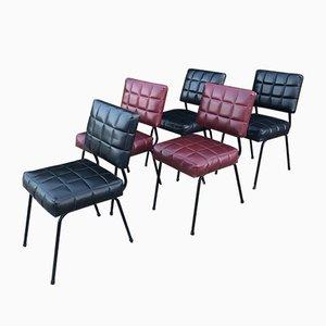 Chaises d'Appoint en Skaï, 1950s, Set de 5