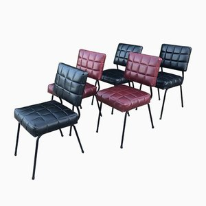 Sedie in similpelle, anni '50, set di 5
