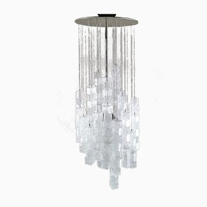 Mid-Century Frosted Glass, Metal & Chrome-Plated Aluminum Chandelier Pendant from Mazzega, 1960s