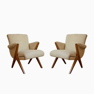 Mid-Century Hungarian Cream Beech Armchairs, Set of 2