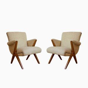Ungarische Mid-Century Sessel aus Cremefarbenem Buchenholz, 2er Set