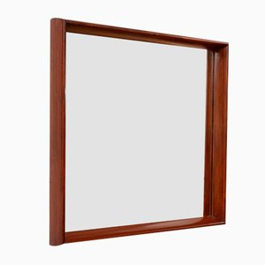 Mid-Century Modern Square Wall Mirror in Solid Brazilian Hardwood Frame, 1960s