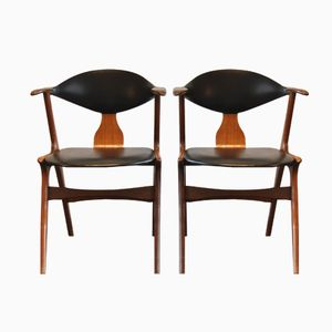 Vintage Cowhorn Armchairs by AWA, Set of 2